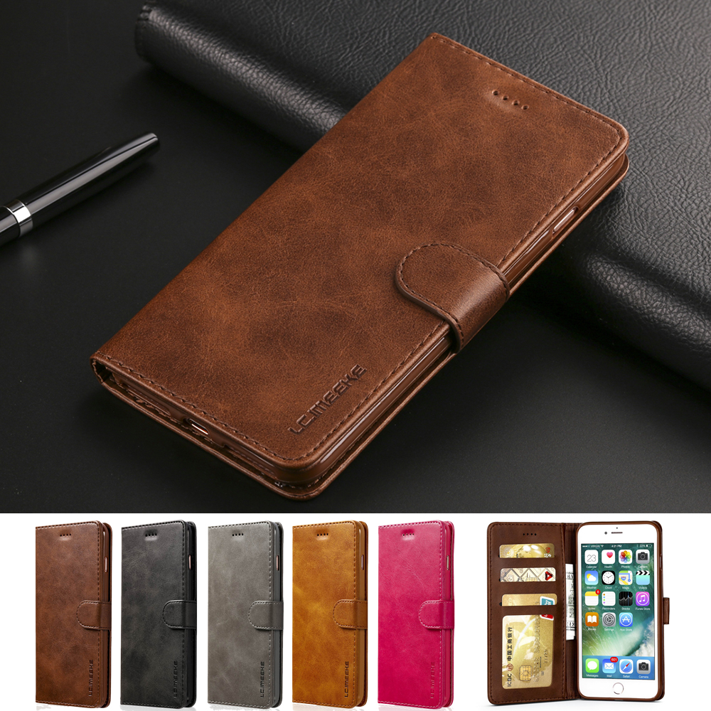 Luxury Leather Flip Case For IPhone 7 8 6 S 6s Plus IPhone X XS Max XR Silicone Cover Card Holder Wallet Case For IPhone 5 5S SE