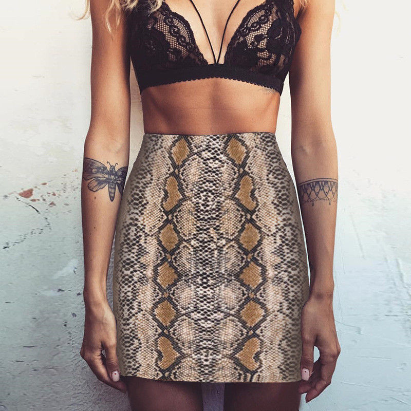 Sexy Women Snake Skin Short Mini Skirt 2019 New Fashion Stretch Tight Pencil Skirts Ladies Bodycon Slim High Waist Skirts Hot