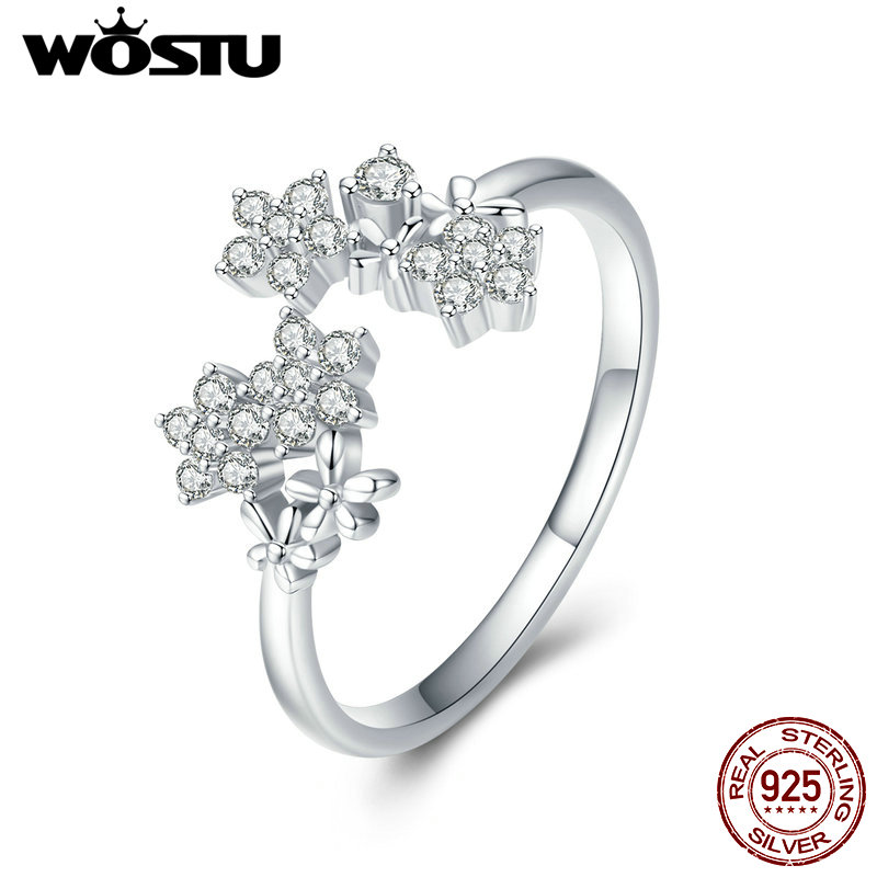 WOSTU 925 Sterling Silver Gypsophila Flower Finger Ring Cubic Zirconia Wedding Engagement Ring For Womens Luxury Jewelry CTR021