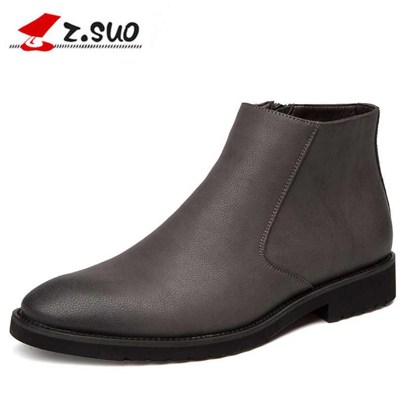 2019 bahar moda deri erkek botları uygun Zip sivri burun iş elbise bot ayakkabı erkekler siyah kahverengi yarım çizmeler erkekler