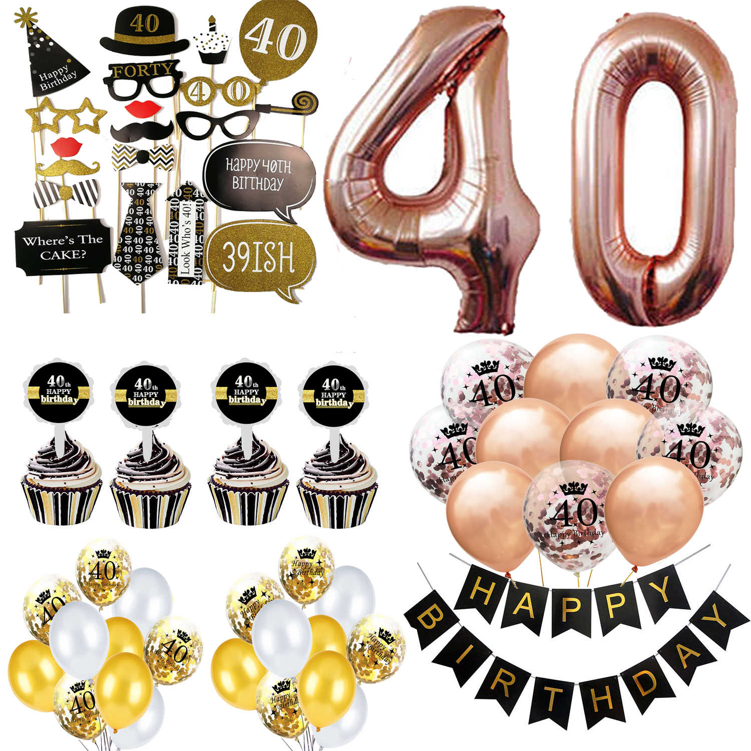 Amawill Adults 40th Happy Birthday Party Decorations Latex Foil Balloons Banner Cake Topper Stickers 30