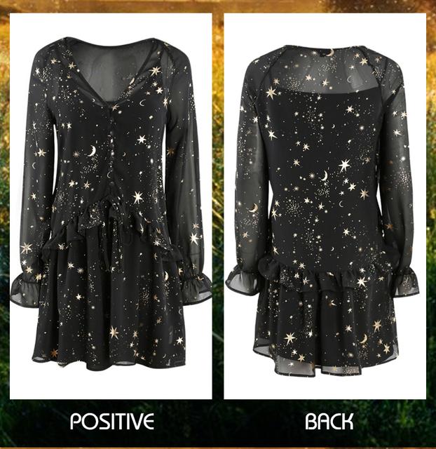 8e916026287753 Star Moon Print Dress 2019 Spring Black Long Sleeve Elegant Party Dresses