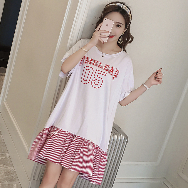 #4940 Summer T Shirt Dress Women Short Sleeve Plus Size Spliced Ruffles Round Neck Cotton Print Letters Large Size Women Dresses