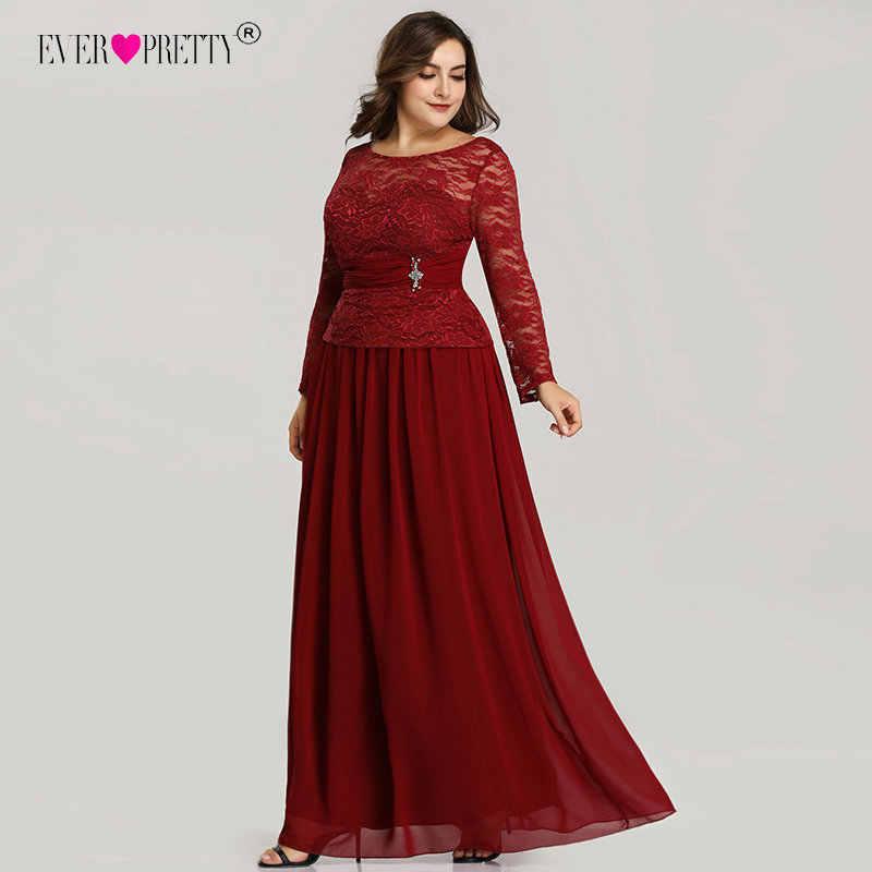 Plus Size Burgundy Evening Dresses Ever Pretty New Arrival Elegant Beading  Sashes A Line Long Sleeve 27588f0b4b26