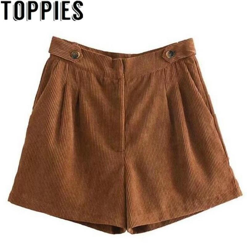 High Waist Autumn And Winter Brown Color Corduroy   Shorts   Women High Waist Retro Vintage Winter   Shorts