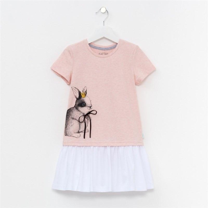 Dress Rabbit powder 11 14 years 100% cotton baby girl casual dress summer pure cotton 100