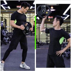 Image 3 - Erkekler spor sıkıştırma spor takımları hızlı kuru koşu setleri giysi spor Joggers eğitim spor salonu spor eşofman koşu seti