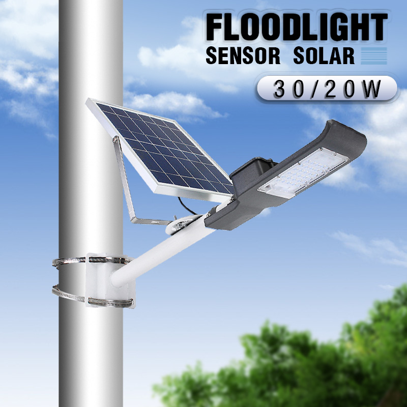 Mising 20/30W Outdoor Solar Street Light with Pole Light Sensor+Remote Control Waterproof Solar Floodlight for Yard Wall GardenMising 20/30W Outdoor Solar Street Light with Pole Light Sensor+Remote Control Waterproof Solar Floodlight for Yard Wall Garden