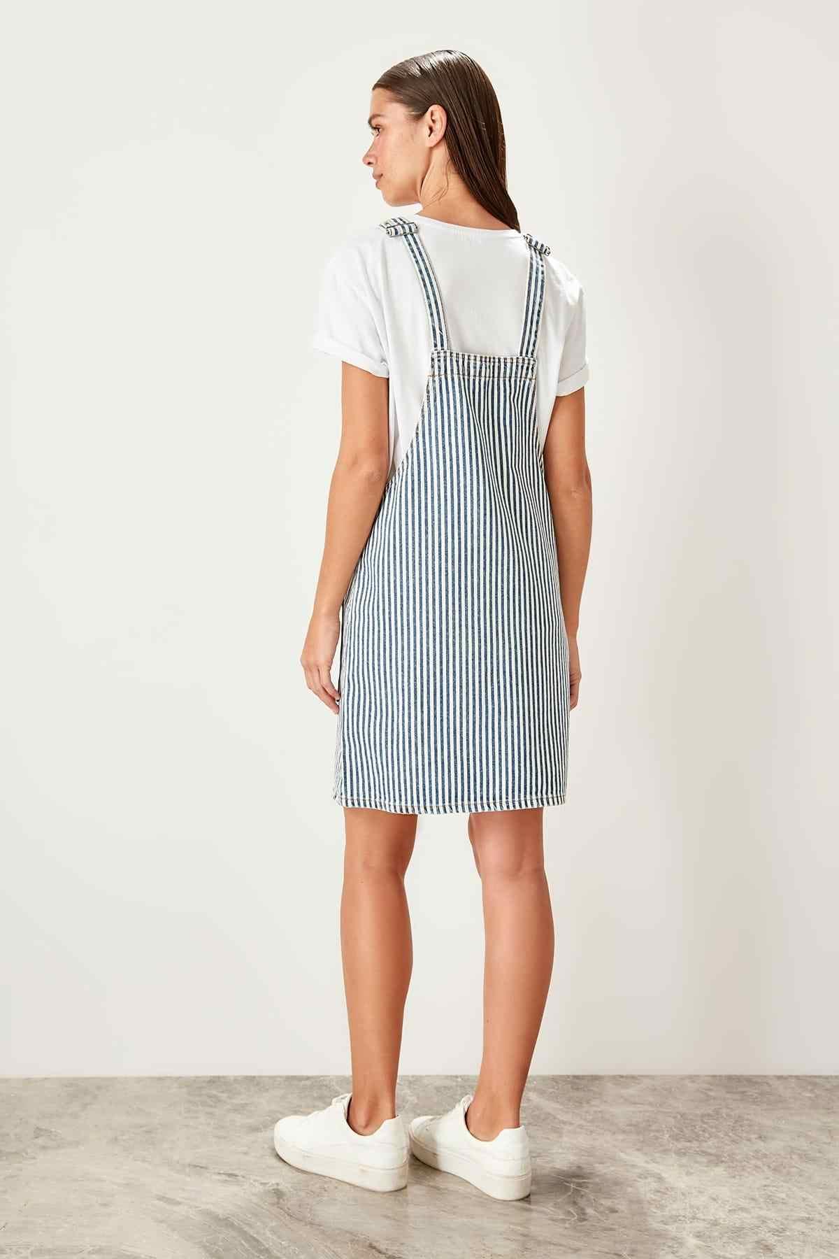 Модное Синее джинсовое платье в полоску TWOSS19UG0017