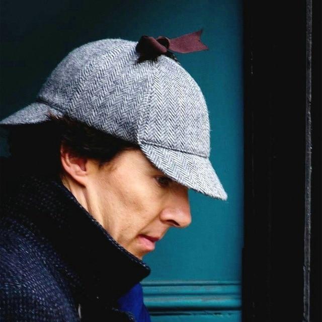 f640af96 New Brand Sherlock Holmes Hat Deerstalker Tweed Baseball Cap Sherlock  Cosplay Detective Cap Novelty Accessories Sombrero