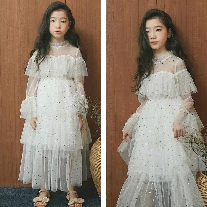 0076cae86b04a スパンコール十代の少女子供パーティードレス 2019 マキシ白ベージュ女の子のウェディングドレス