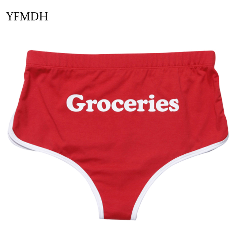 GROCERIES Letter Print Female Cotton Workout Red   Short   Pants 2019 Summer Sexy Club Women Solid Color Skinny Black Fitness   Shorts
