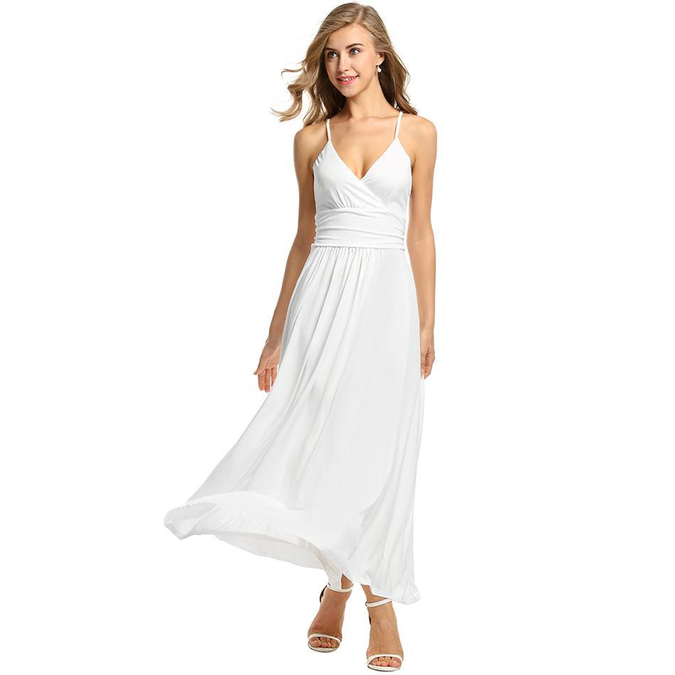 AL'OFA Women Long   Cocktail     Dress   Adjustable Strap V-Neck Maxi   Dress   High Waist Pleated Solid Sexy Party   Dresses