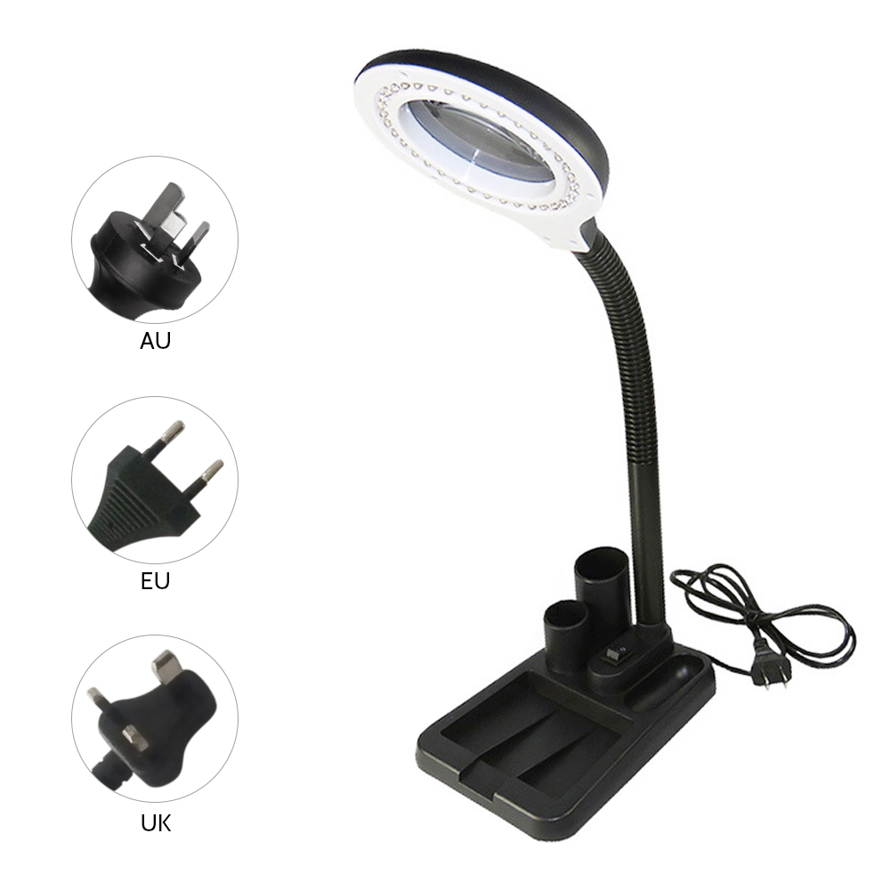 Image 2 - 6W 40LED 5X/10X Magnifier Glass with Gadget Storage Design Desk Lamp Beside Light Magnifying Lens Printing LED desk lamp-in Desk Lamps from Lights & Lighting