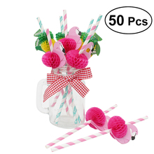 Flamingos Cartoon Disposable Decorative Straws For Drink Suckers Birthday Hawaiian Style Party Supplies Flamingos Straws