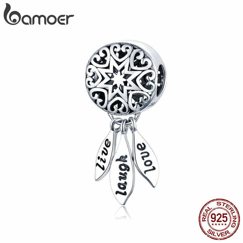 BAMOER Hot Sale Genuine 925 Sterling Silver Vida Dream Catcher Pingente Encantos fit Pulseiras & Colares de Jóias Vintage SCC1128