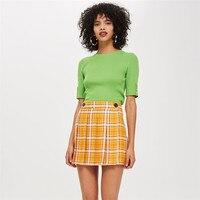 Women Plaid Skirt High Waist 2019 Spring Casual Belt Buttons Elegant A Line Vintage Female