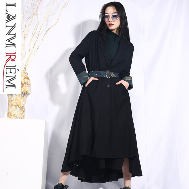 LANMREM 2019 New Spring Women Asymmetric Lapel Long Sleeve Striped Split Joint Irregular Windbreaker   Trench   Fashion Coat JO552