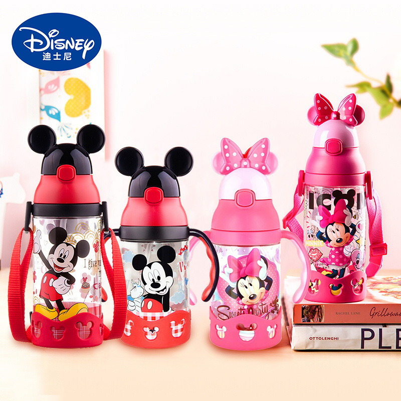 2019 Disney Baby Straw Bottle Water Cup Boys Girls Learning Drink Water Handle Cute Babies Baby Mickey Minnie Cup