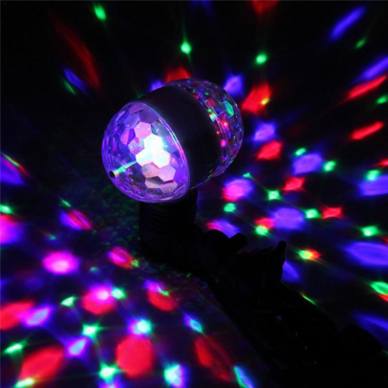 E27 3W Dual-head Rotary RGB LED Stage Light Bulb Small Magic Ball Lamp Sound Activated DJ Disco KTV Laser Projector Music Lights