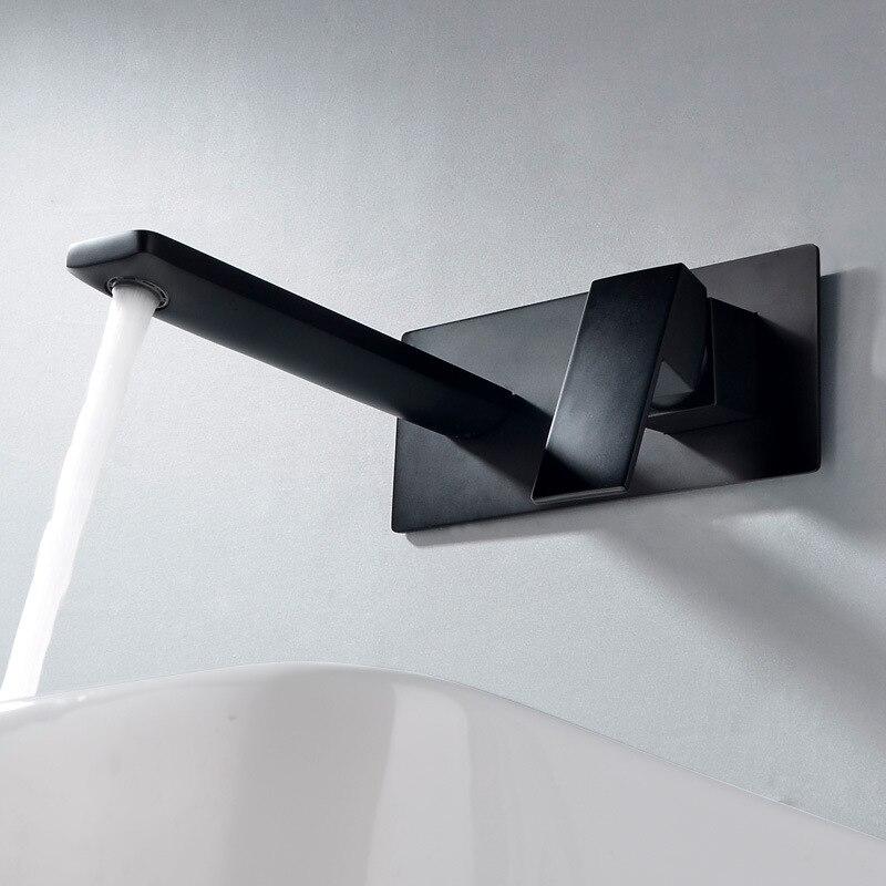 Dofaso cuivre noir robinet de lavabo dissimulé mur intégré boîte sur lavabo leader hôtel salle de bains mural robinet mélangeur