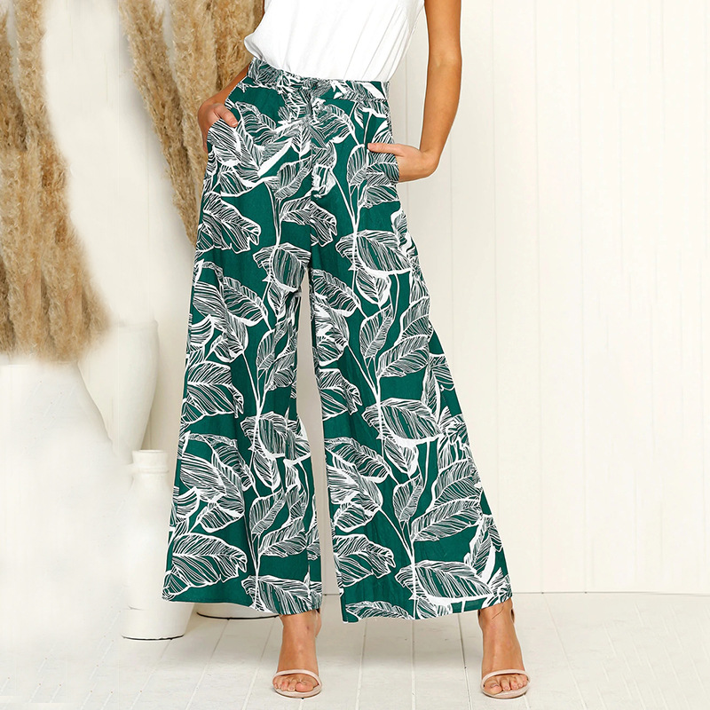 2019 Fashion Women Leave Printed   Wide     Leg     Pants   Loose Casual Pockets Boho Summer Long   Pants   Lady Trousers Mujer Plus Size M0542