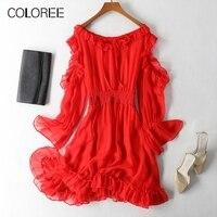 Pure Silk Dress Womens 2019 Summer Sexy Red Mini Dress Bow Lace up Ruffles Holiday Beach Dress Female