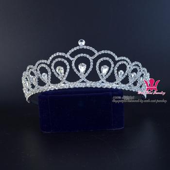 Tiary ślubne Rhinestone korony ślubne księżniczka królowa włosów akcesoria kryształowe klasyczne tiary grzebień pałąk wysokiej jakości 01446 tanie i dobre opinie Miedzi CN (pochodzenie) Klasyczny Moda Hairwear Tiaras Serce Kobiety