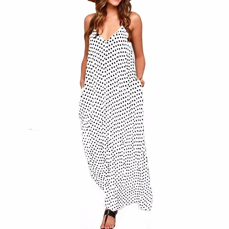 Платье макси с узором в горошек и бретельками для женщин; летние богемные пляжные платья с глубоким v-образным вырезом и карманами без рукав...