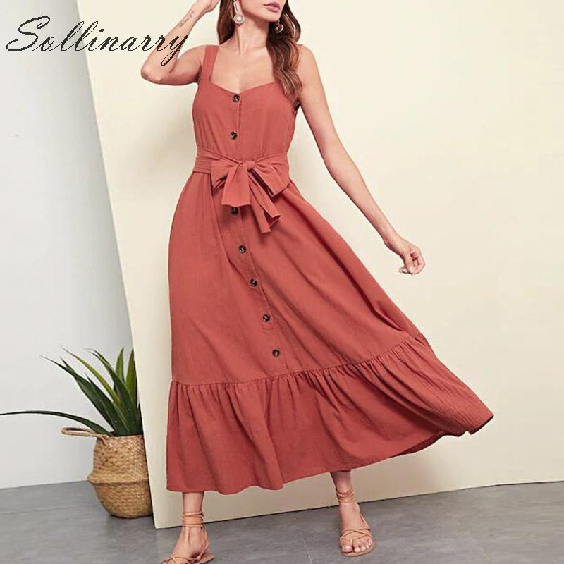 Sollinarry Holiday Long Summer Dress 2019 Women Casual High Waist Sashes Female Dresses Caramel Girl Bow Retro Dress Vestidos