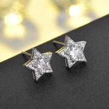 2019 New arrival Shiny AAA Cubic Zirconia Star Earrings for Women Fashion Simple Silver Earrings Party Jewelry Gift