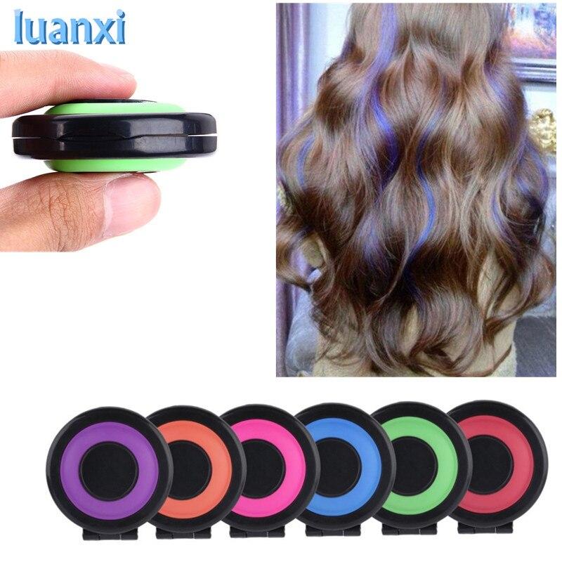 6Pcs Hair Color Crayons Temporary Hair Dye Powder Cake Styling Hair Chalk Set Soft Pastels Hair Care Styling Non-toxic Bb