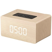 Bluetooth Speaker Digital Alarm Clock Wooden, V4.2 Portable Wireless Dual Driver Speakers, 1500 Mah, Led Time Display