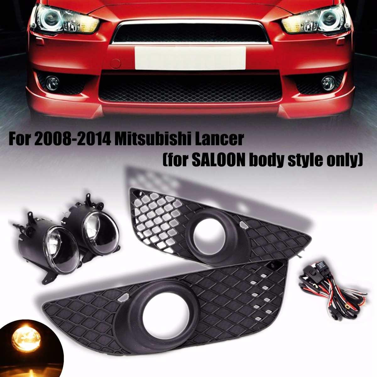 Para Mitsubishi Lancer 2008-2014 Luzes de Nevoeiro Da Frente Da Lâmpada Bumper Grille Cobertura de Guarnição Nevoeiro Luzes de Condução Hook-up interruptor fio Kit