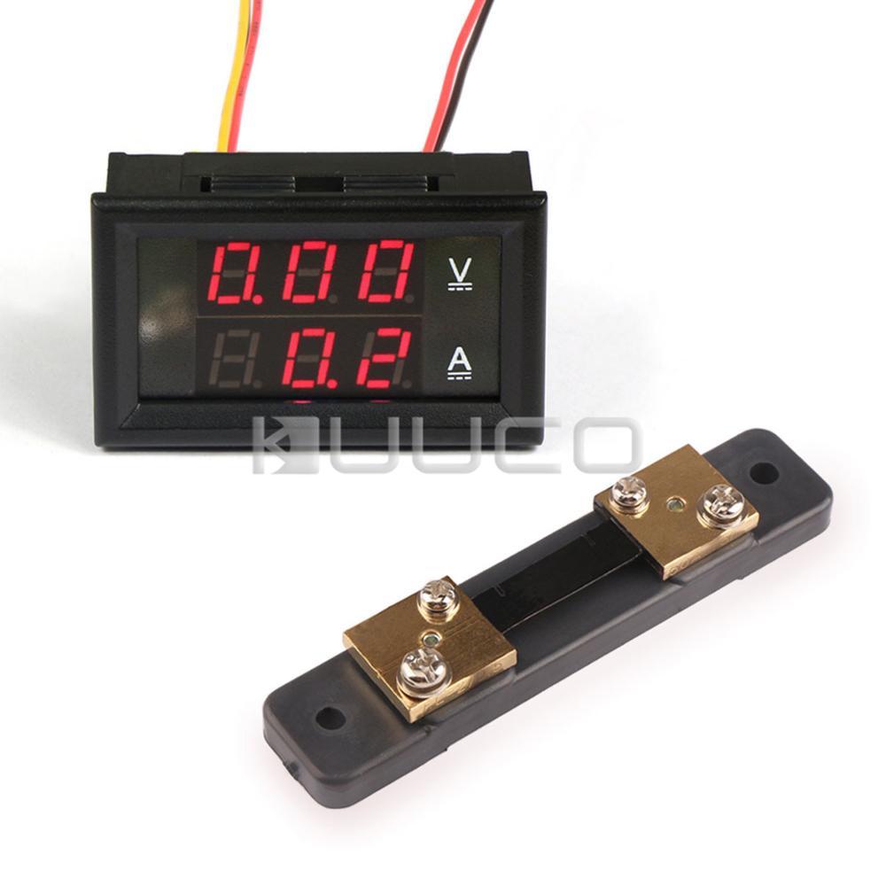 Measurement & Analysis Instruments 5 Pcs/lot Digital Voltmeter Ammeter Dc 0 ~100v/50a Voltage Current Meter/tester Dc 12v 24v Digital Meter With 50a Current Shunt For Improving Blood Circulation