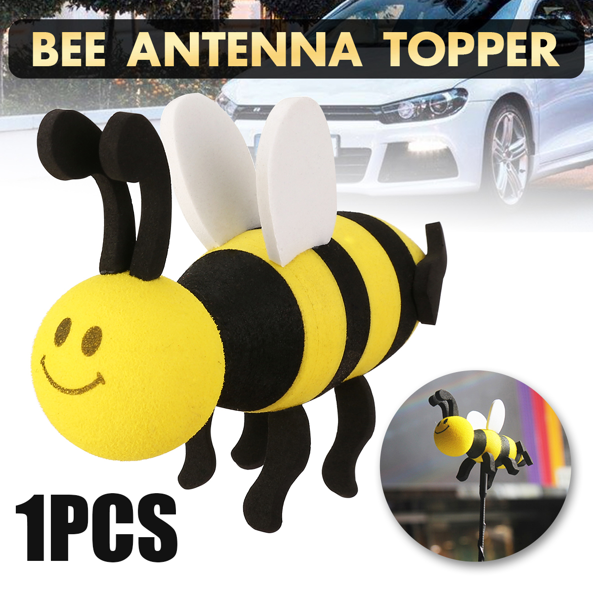 1pcs High Qualitycute Smiley Yellow Honey Bumble Bee Car Antenna Pen Topper Aerial Ball Decoration Toy Car Accessories