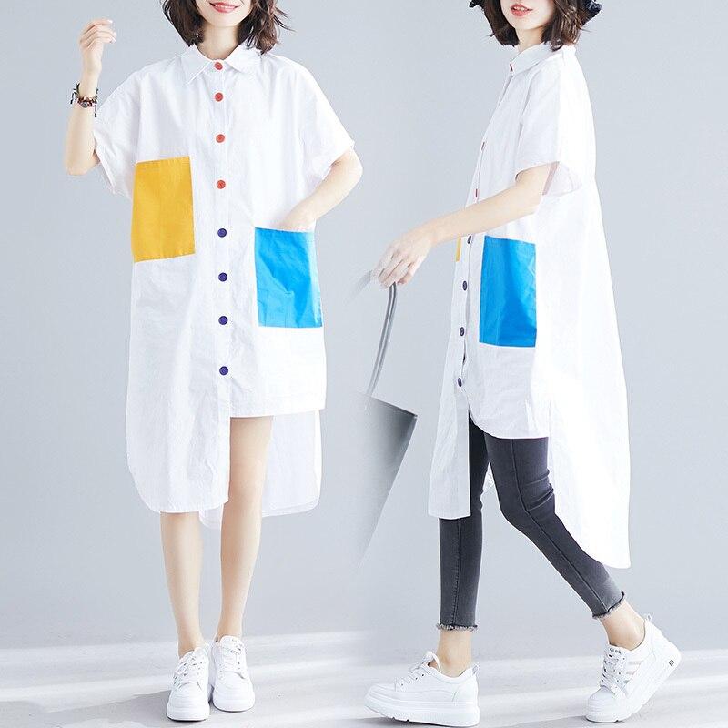 0e582522db8  2805 красочные большой карман удлиненные рубашки для женщин Белый  повседневное Асимметричная блуза рубашка с короткими рукавами туника сво.