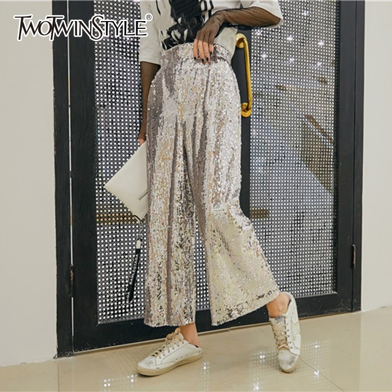 TWOTWINSTYLE Heavy Sequins Patchwork Elastic Trouser For Women High Waist Ankle Length   Wide     Leg     Pants   Female Spring 2019 Fashion