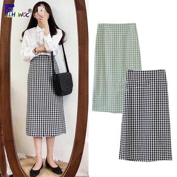 b9b98e221 2019 niñas faldas lindo Dulce y Caliente las mujeres Japón Corea estilo  Preppy Vintage Verde Negro cintura alta falda a cuadros 321