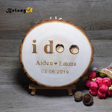 1pcs Wooden Ring Pillow Personalized Custom Holder Rustic Wedding Decor Vintage Party Engagement Decoration Pillows