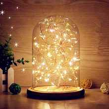 20LED Flower Glass Globe Box Bottles Night Light Lamp Holder Gift Cover Base Desk Glass Vases LED Lampshade Home Christmas Decor(China)