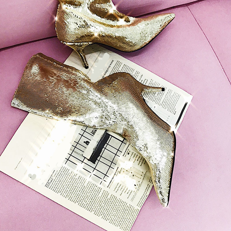 Orteil deat 2019 Simples Marée Bottes silver Cuir Du Printemps Talons Femmes Genou 10sj095 Chaussures Nouveau À Paillettes Hauteur Pu En Minces Mode Pointu D'été Golden Color Color ZXXqrn1d