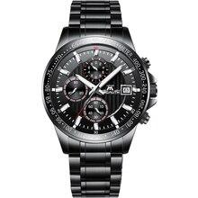 MEGALITH роскошные часы для мужчин черный нержавеющая ремешок водонепроницаемые Бизнес Спортивные часы с хронографом часы Relogio Masculino