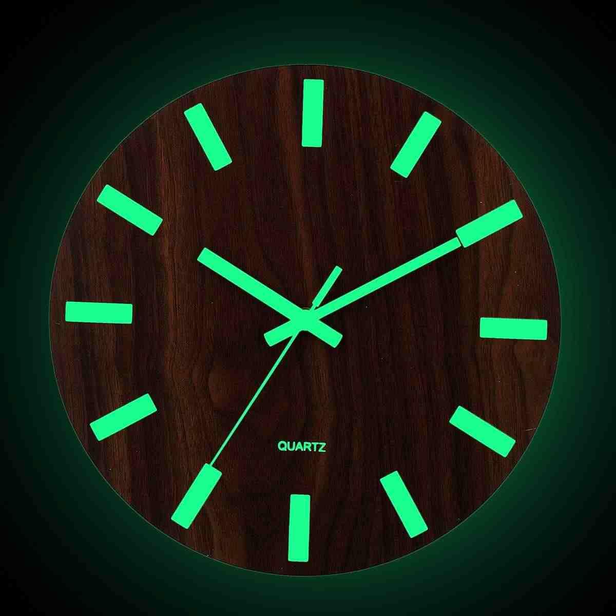 12 Inch Luminous Wall Clock Silent Glow In Dark Decorative For Home Living Room Quartz Antique Hanging Clock Office Decor Wooden Wall Clocks Aliexpress