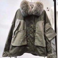 Новый шаблон зима для мужчин женщин Фокс волос датский лайнер утка подпушка куртка Открытый Треккинг Снег Танк ветровка одежда