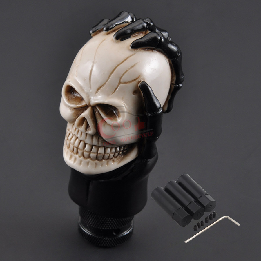 New High Quality Automatic Transmission Gear Shift Lever Knob Gear Stick Shifter Knob ghost Skull Head Universal White Face