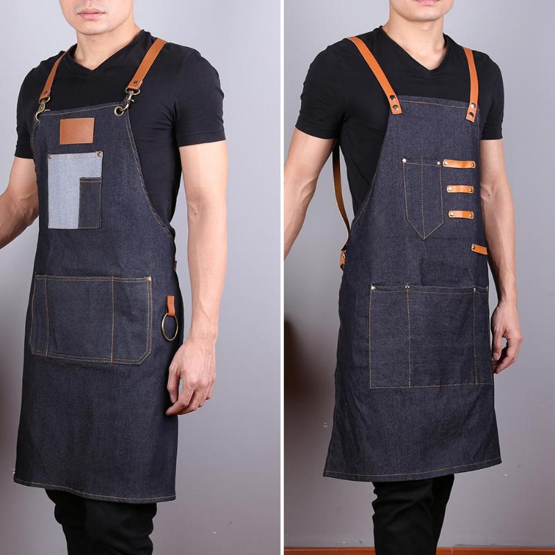 Denim Apron Hair-Cutting-Apron Salon Hairdresser Barber Professional Styling-Cloth-Tool title=