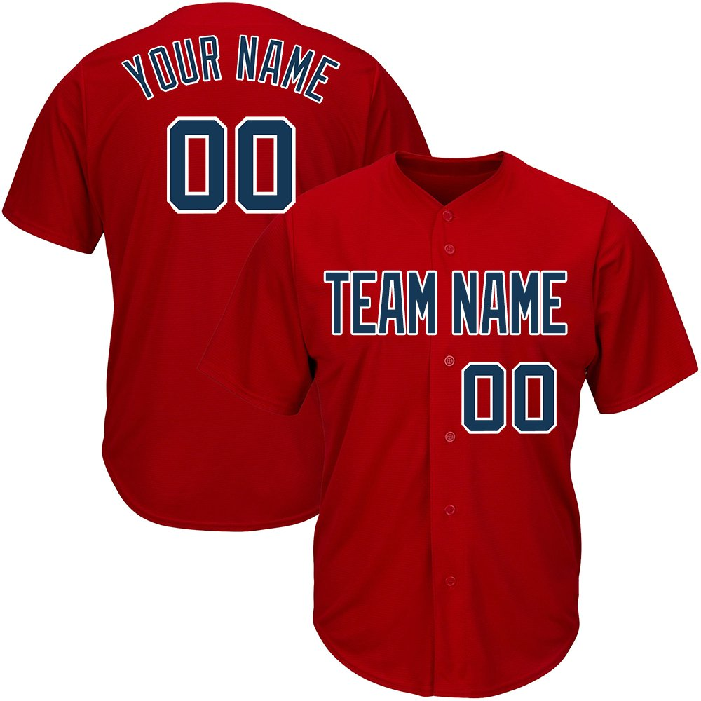 441cef95f DEHUI Customized Red Mesh Baseball Jerseys with Embroidered Any Team Logo  High School College Player Name