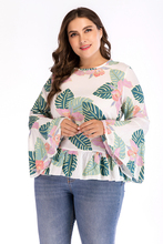 Womens Plus Size Tops And Blouses Summer O-Neck Flare Short Sleeve Floral Print Boho Tunic Chiffon Blouse 4XL Women Shirts