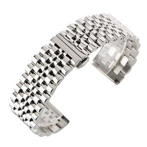 Image 1 - 22mm Silver/Black Stainless Steel Watch Band Folding Clasp with Safety Solid Watches Strap for Men Watch Replacement Bracelet